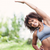 fitness model streatching and working out